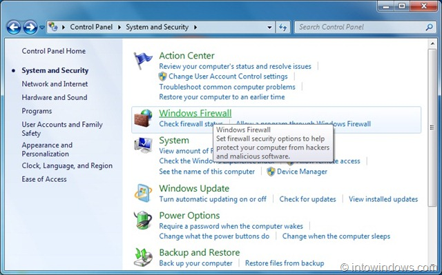 how to set firewall in windows 7