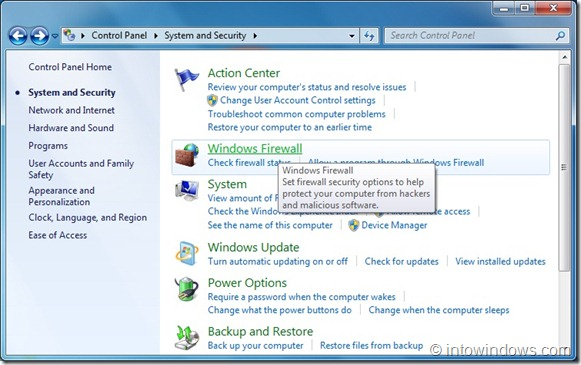 how to open firewall windows 7