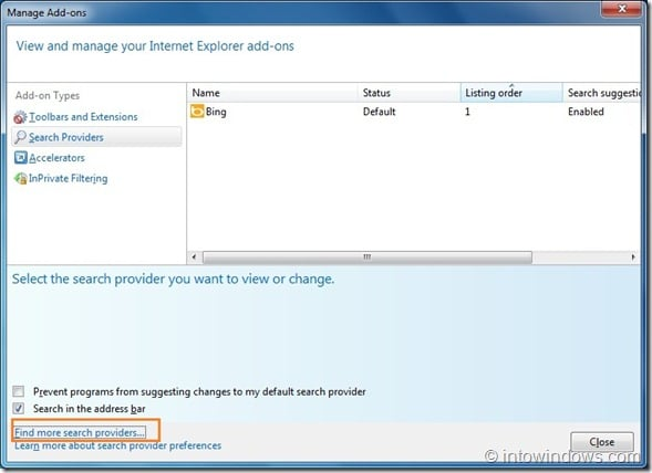 Set Google As Default Search Engine In Internet Explorer 9 step3