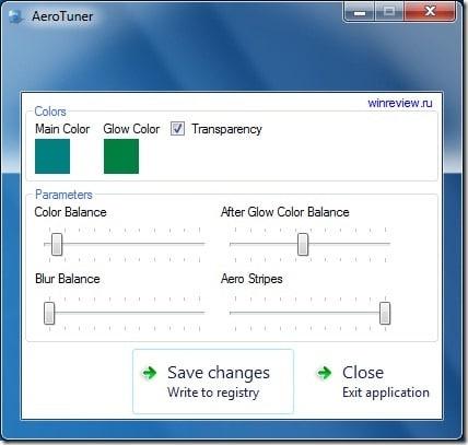 AeroTuner for Windows 7
