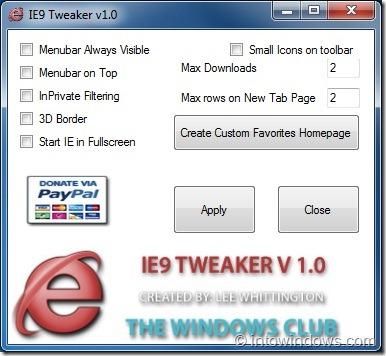 IE 9 Tweaker