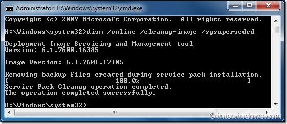 Reclaim Lost Disk Space After Installing SP1 For Windows 7 step5
