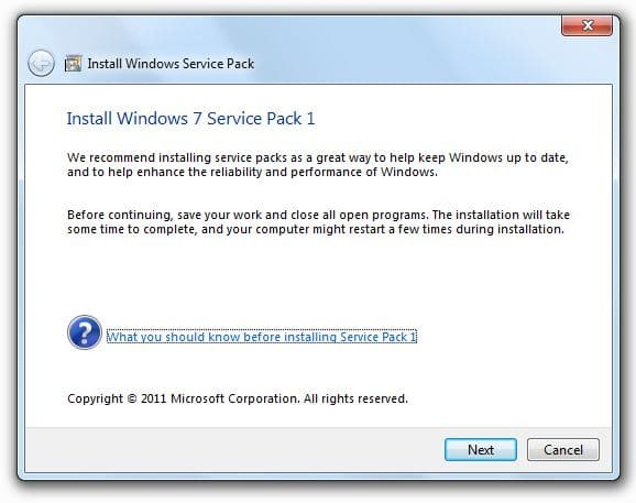 Service Pack 1 for Windows 7