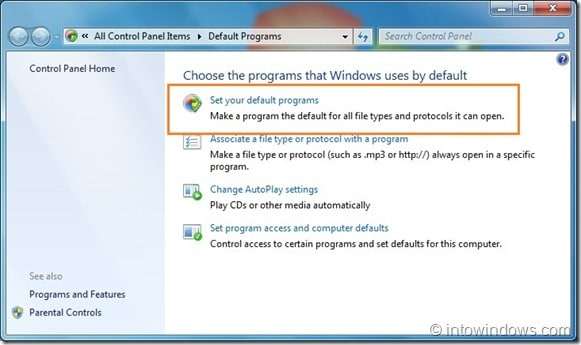 Restore Windows Media Player File Associations in Windows 7 step2