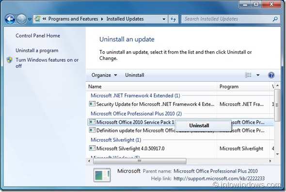 Uninstall Office 2010 SP1 Beta