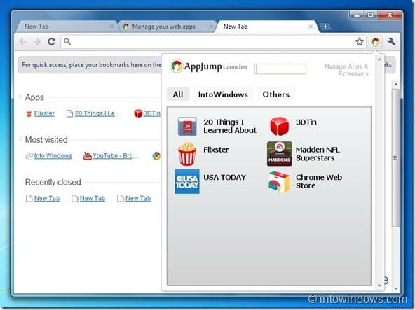 AppLauncher Extension for Google Chrome