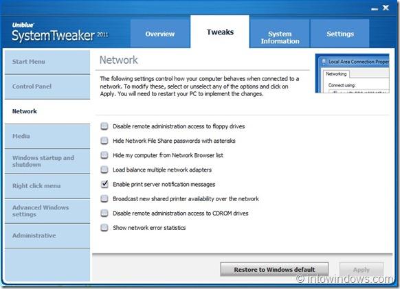SystemTweaker Network Tweaks