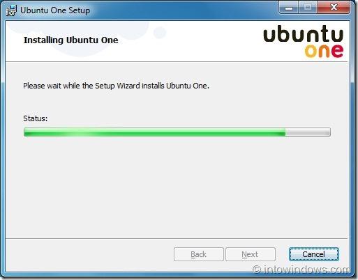 Ubuntu One Setup on Windows 7 step2