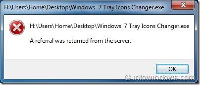 Windows  7 Tray Icons Changer Error