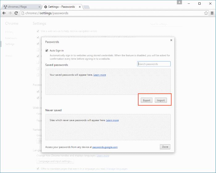 backup and restore Chrome passwords Windows