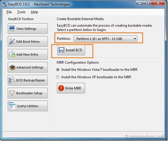 Create Bootable USB Flash Drive Using EasyBCD step1