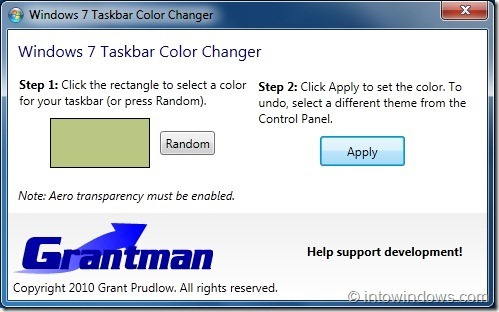 Windows7 Taskbar Color Changer