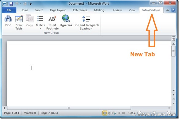 Add New Tab to Office 2010 Ribbon Step3