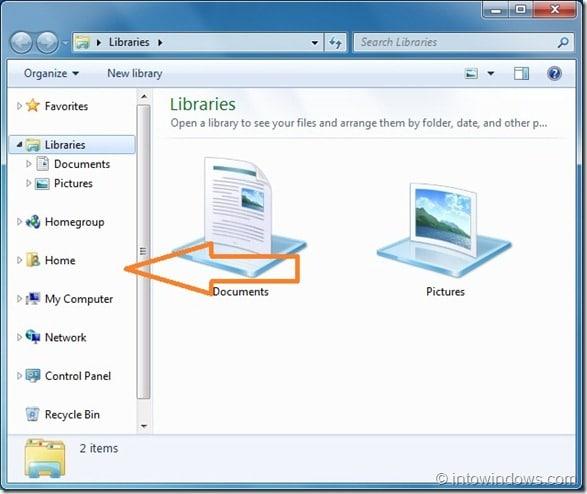 Customize Windows 7 Explorer Navigation Pane