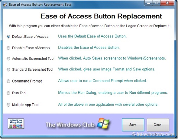 Easy of Accees Button Replacement Tool for Windows 7