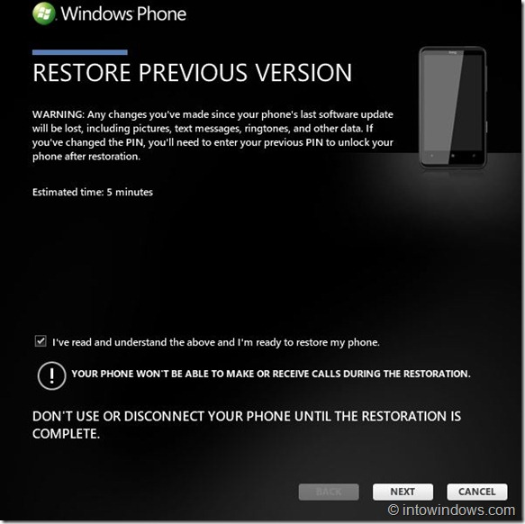 Restore Windows Phone 7 Software To An Earlier Version Step33
