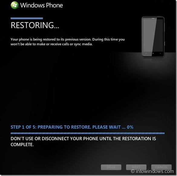 Restore Windows Phone 7 Software To An Earlier Version Step4