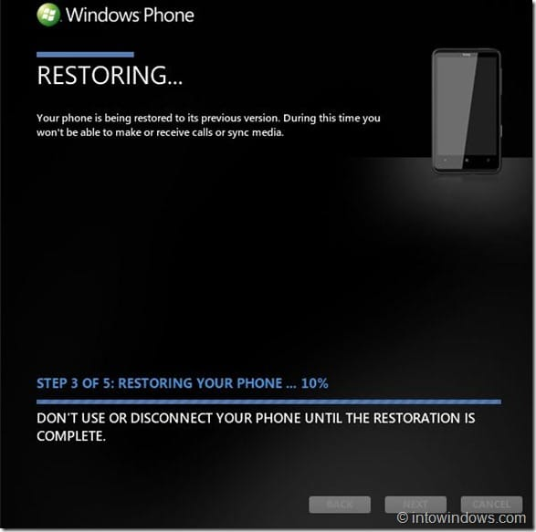 Restore Windows Phone 7 Software To An Earlier Version Step5