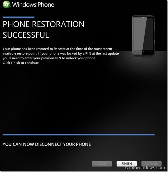Restore Windows Phone 7 Software To An Earlier Version Step6