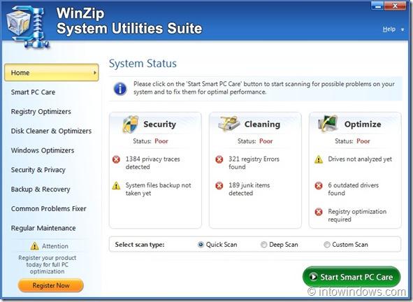 WinZip System Utilities Suite Screenshot1