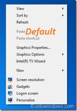 Default Desktop Context Menu Background