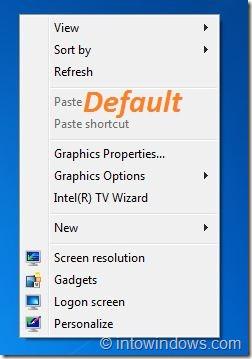 Default Desktop Context Menu Background