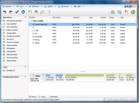 EASEUS Partition Master Home Edition For Windows