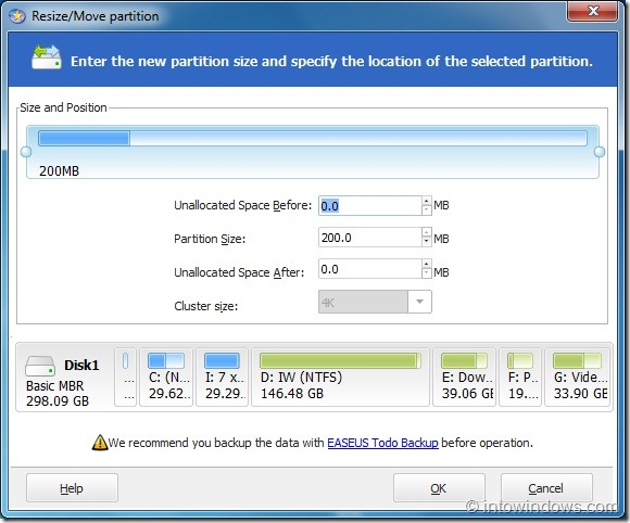 EASEUS Partition Master Home Edition Options