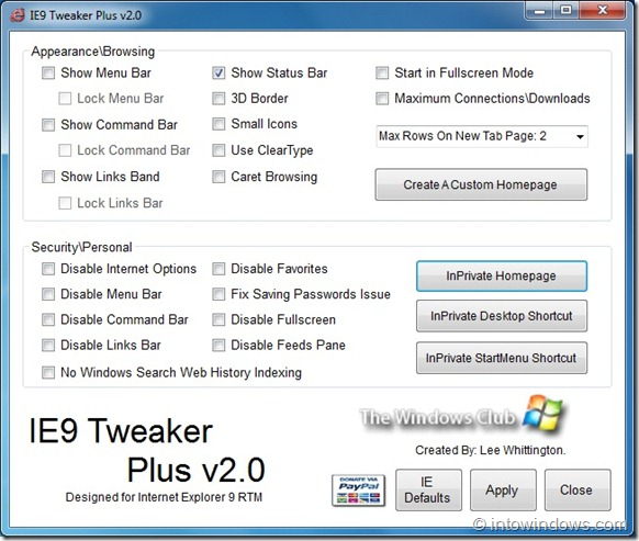 IE9 Tweaker Plus For Internet Explorer 9