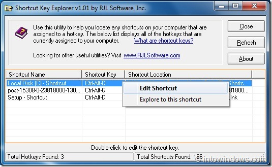 Shortcut Key Explorer Edit Option