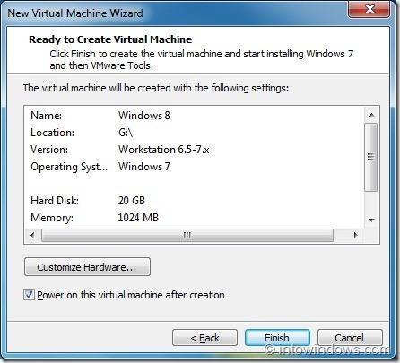 Install Windows 8 On VMware Player Step7