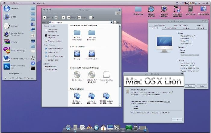 Mac OS X Lion Transformation Pack For XP
