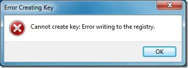 Error Creating Key In Windows Registry