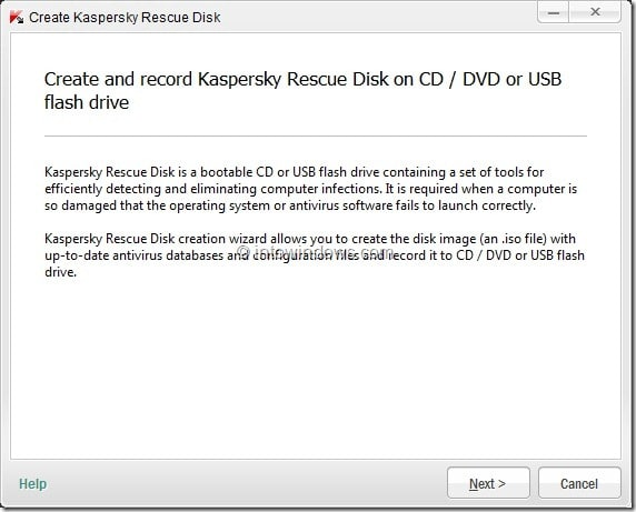 How To Create Kaspersky Rescue Disk USB Step2
