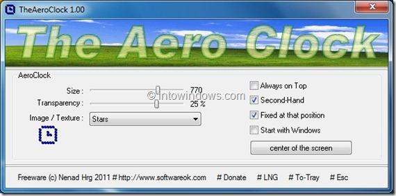 The Aero Clock Settings