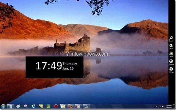 Windows 8 sidebar menu