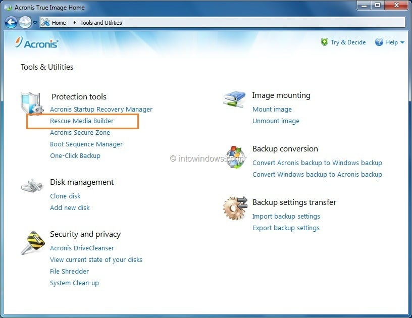 Boot Acronis True Image From USB Flash Drive