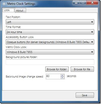 Change Windows 8 Metro Clock Screen Saver Settings