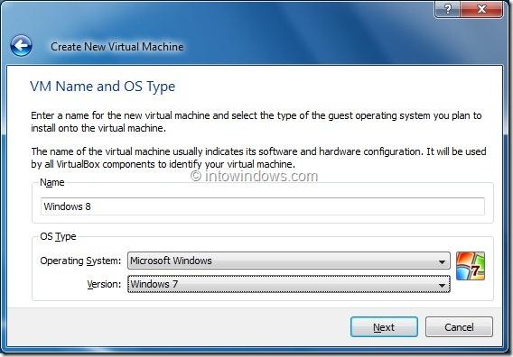 Install Windows 8 On VirtualBox Virtual Machine Step3