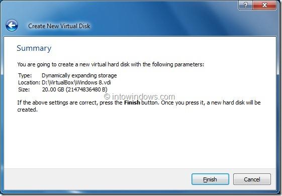 Install Windows 8 On VirtualBox Virtual Machine Step9