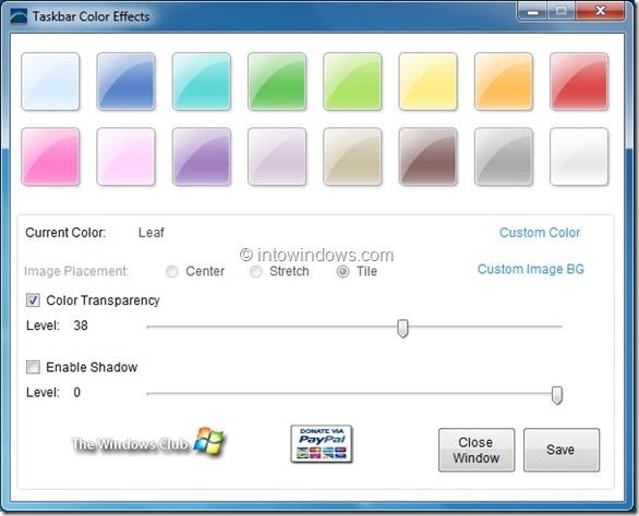 Taskbar Color Effects