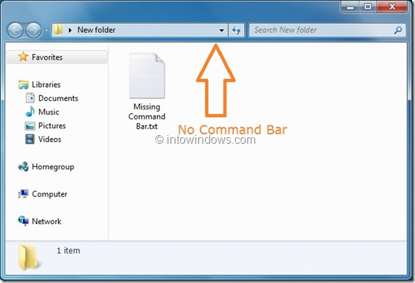Remove Windows 7 Explorer Command Bar