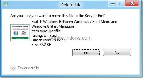 Enable Delete Confirmation Dialog In Windows 8