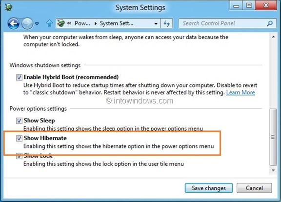 Enable Hibernate In Windows 8 Step 6