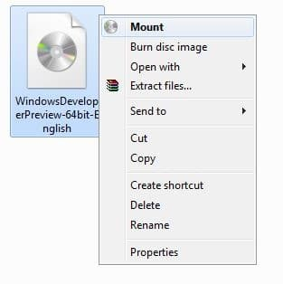Mount ISO File In Windows 8