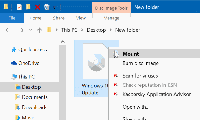 Mount ISO file in Windows 10/8