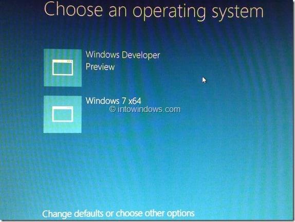 Windows 8 Dual Boot Menu