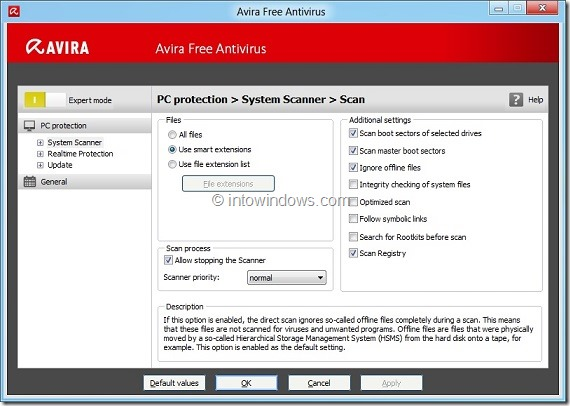 Avira Free Antivirus 2012 for Windows 8 Picture1