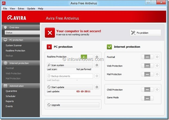 Avira Free Antivirus 2012 for Windows 8
