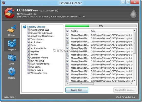 CCleaner for Windows 8 Picture2